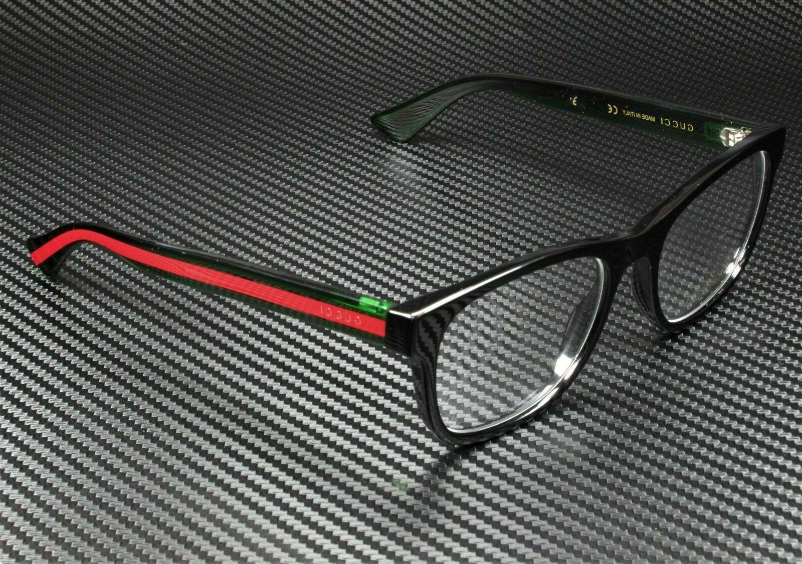 NEW GUCCI Mens Black Green Transparent Stripe Eye Glasses Fr
