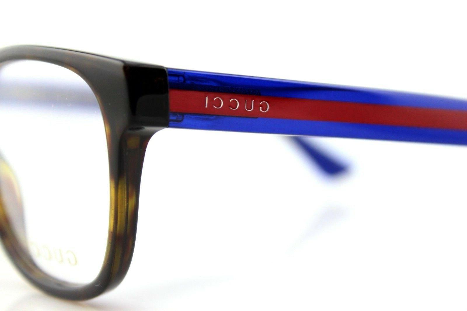NEW GUCCI Havana Blue Transparent Eye Glasses GG 003 4O