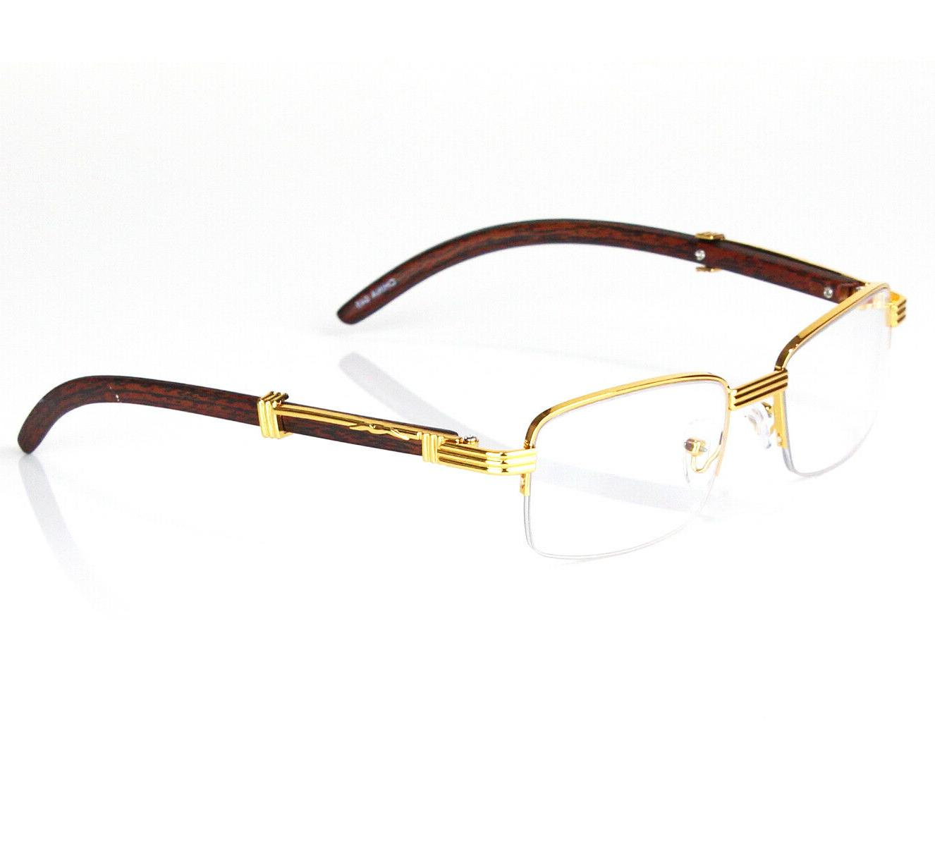 Retro Vintage Lens Gold Wood Eye Designer