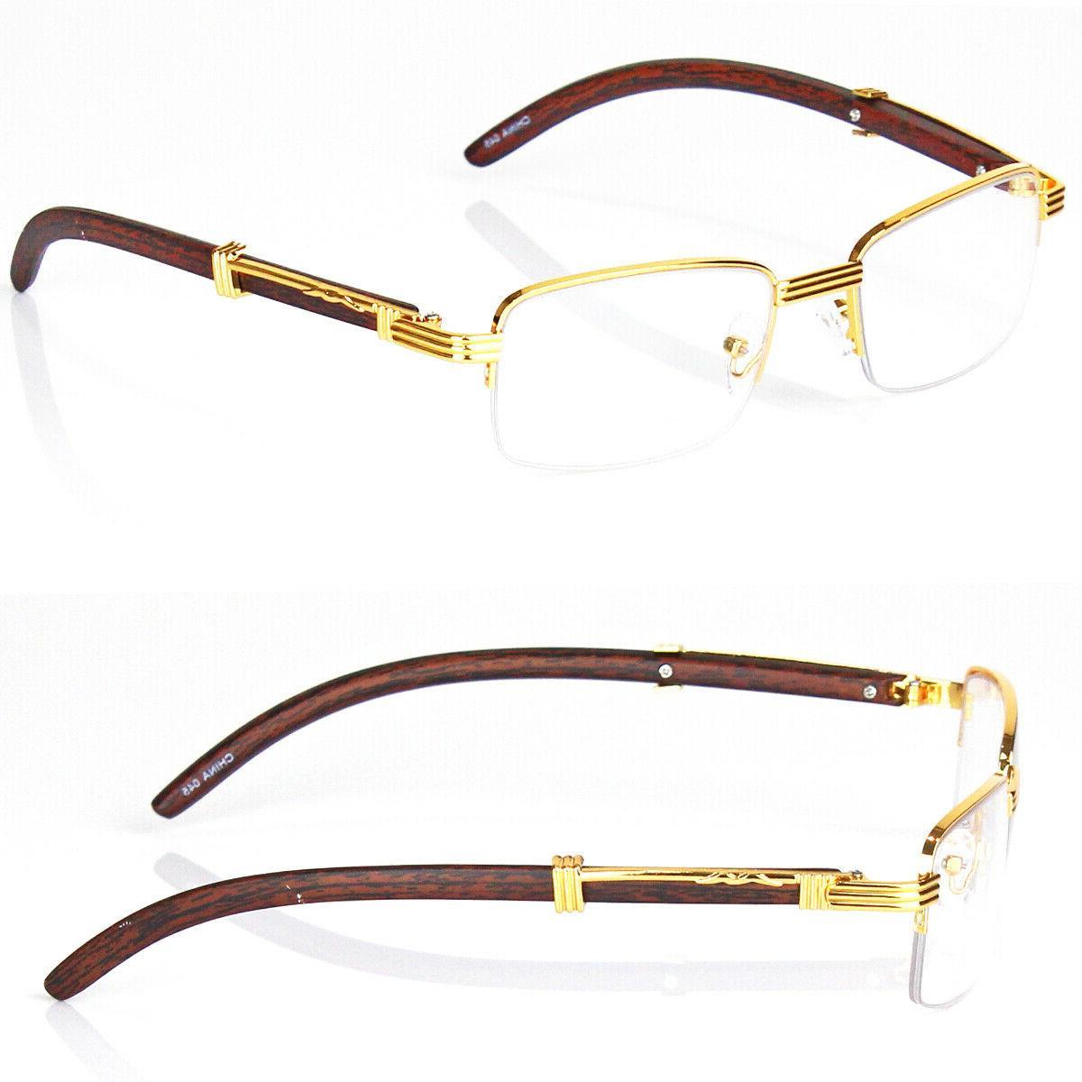 45b8253d5f6 Retro Vintage Clear Lens Gold Wood Frame Fashi