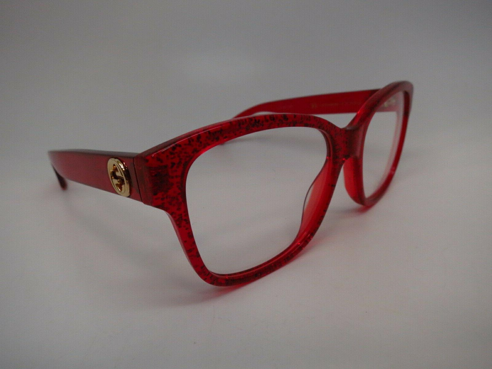 authentic gg0038o 004 red w clear eyeglasses