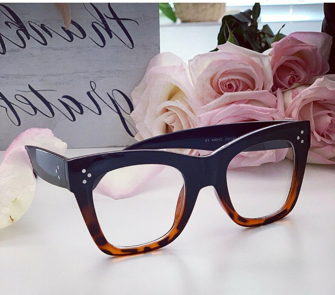 Oversized thick frames Women Eyeglasses Clear Lens