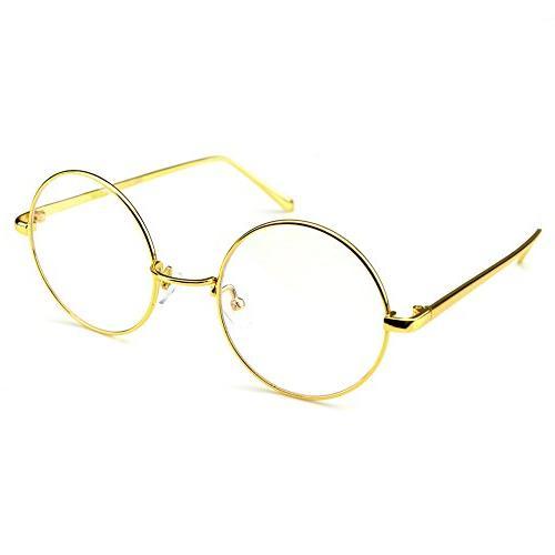 circle oversized metal eyeglasses frame inspired horned