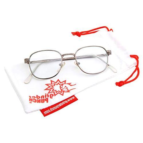 Classic Vintage Square Clear Lens Metal Glasses