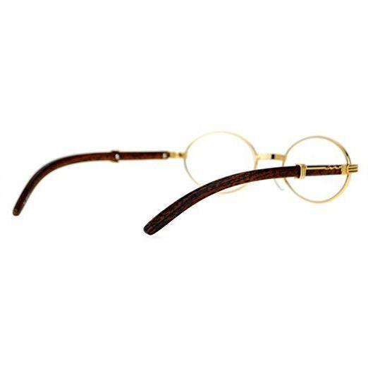 Mens Clear Lens EYE GLASSES Wooden Print Gold