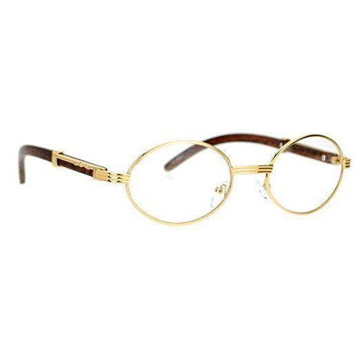 Mens Style Clear Lens Wooden Print Oval Gold