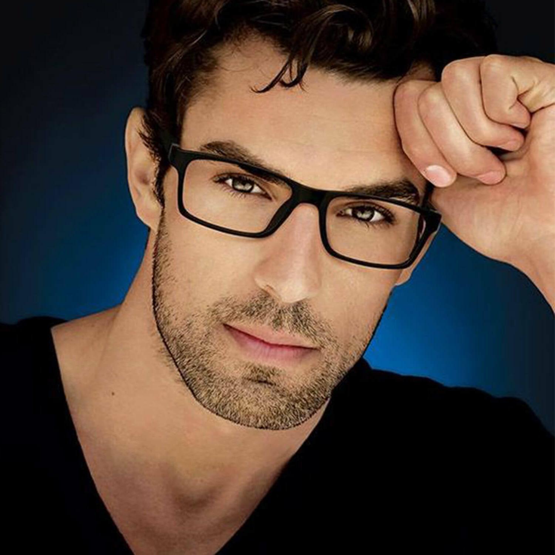 clear lens square men eyeglasses black brown