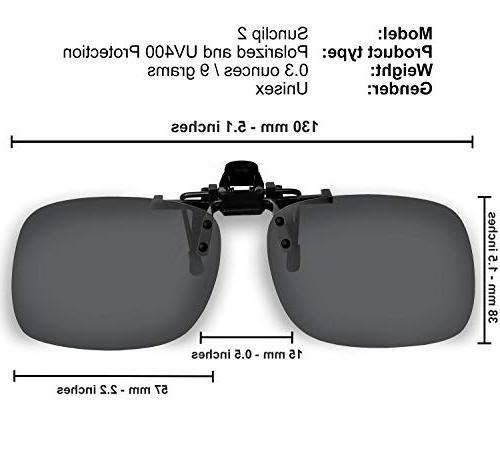 Clip Sunglasses to Clip onto prescription Eyeglasses Flip Up for Case
