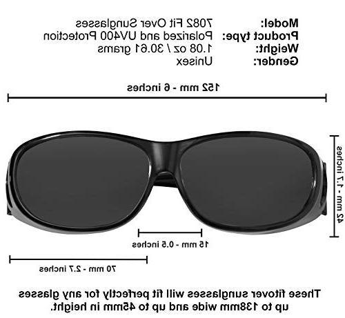 Fit Over Lens Over Eyeglasses UV Fitovers for Men Women