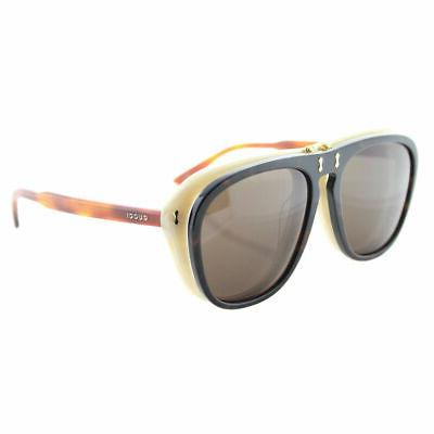 Women's Gucci 56Mm Flip-Up Sunglasses - Havana/ Brown