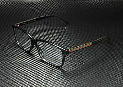 GUCCI Square Black Shiny Crystal Lens 57 Eyeglasses
