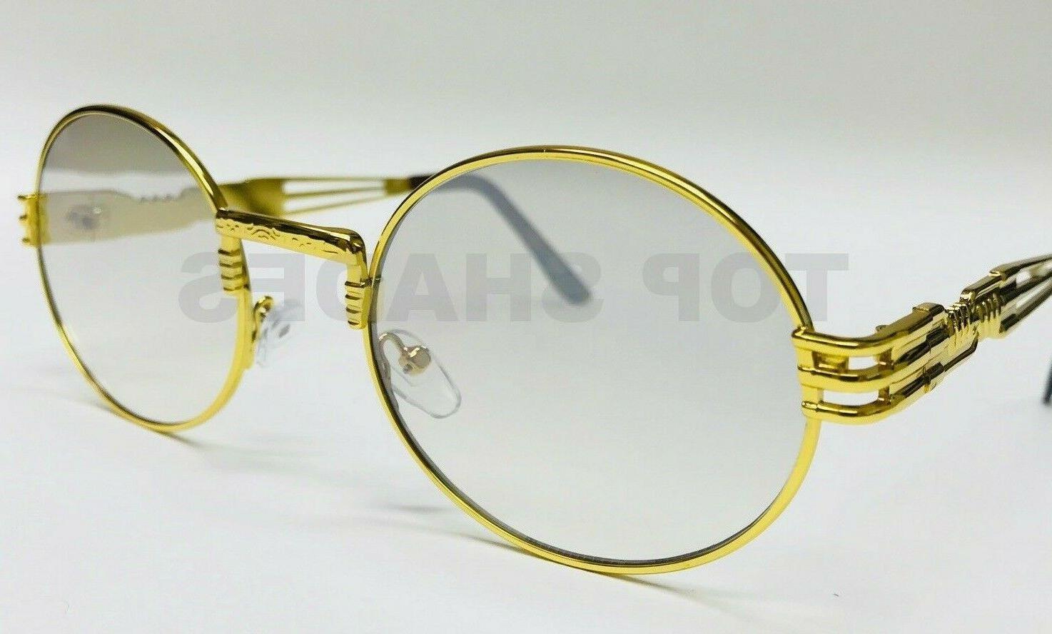 gold metal oval frame designer clear lens