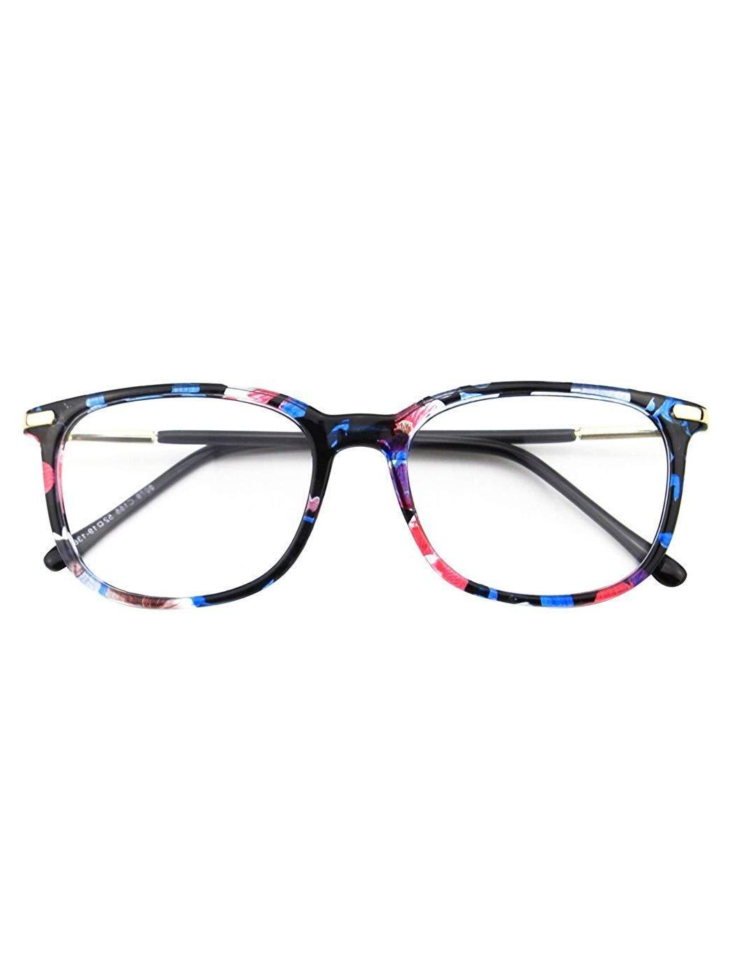 Happy Fashion Metal Temple Horn Rimmed Glasses