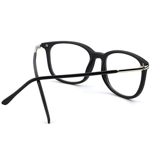 Happy Store CN79 Fashion Metal Rimmed Clear Glasses,Matte Black