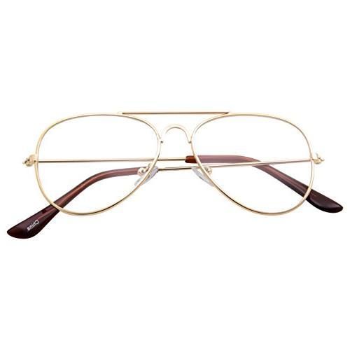 Kids Fake Aviator Eye Glasses Lens Non Prescription Gold