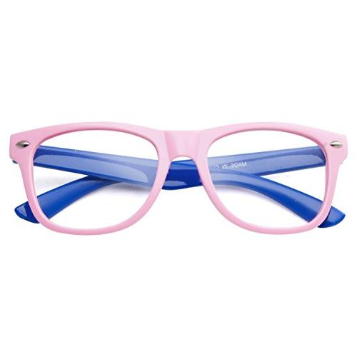 Kids Nerd Retro Color Clear Lens Childrens Fake Eye Pink/Blue