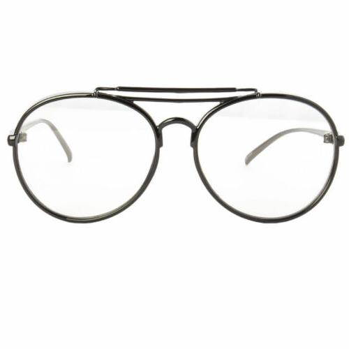 Large Oversized Round Metal Clear Lens Round Circle Eye Glasses Black