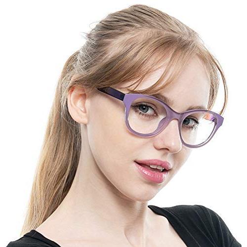SOOLALA Lovely Hit Oversized Clear Lens Eye Glasses Glasses, Purple, 1.75D