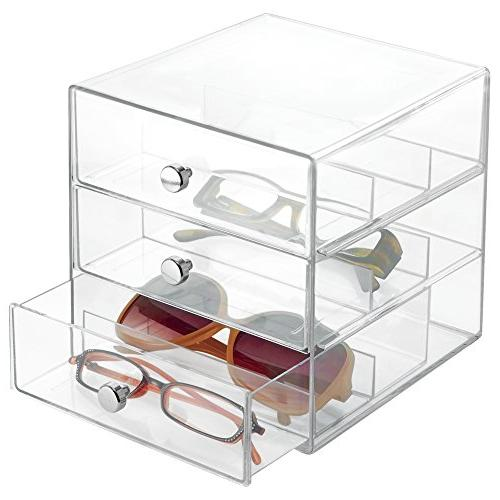 mDesign Stackable Organizer Holder for Eyeglasses, Sunglasse