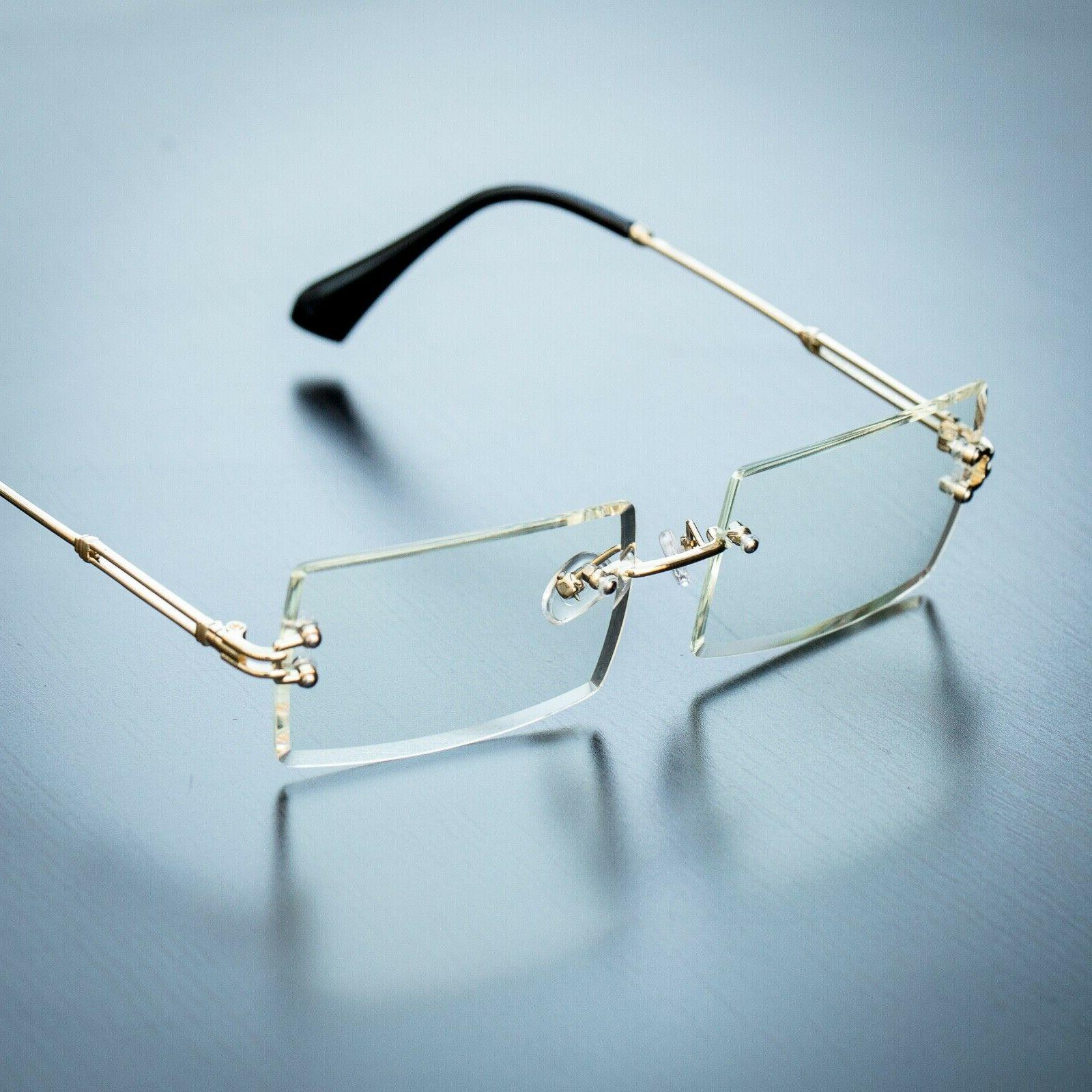 men s gold sophisticated clear lens square