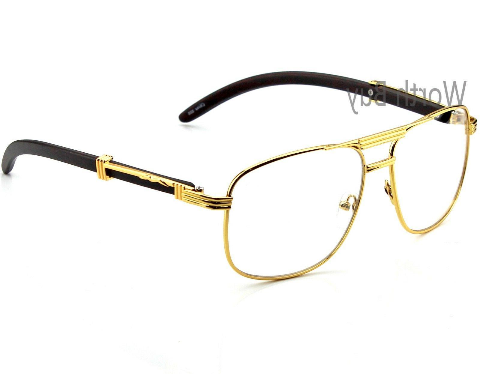 Mens Women Pilot Clear Lens Fashion Eye Glasses Retro RX Gol