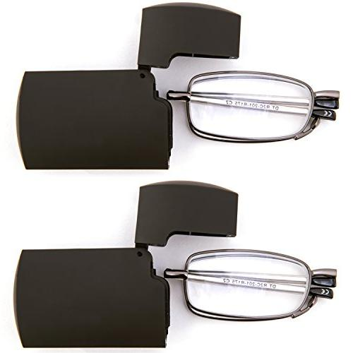 DOUBLETAKE Pairs Metal Glasses with Top Carrying Case Men and