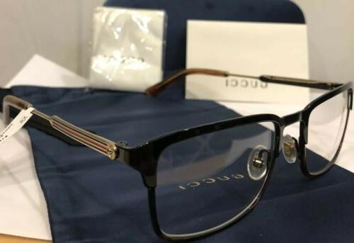 NEW GUCCI 008 Havana Eyeglasses W/ Web Stripe