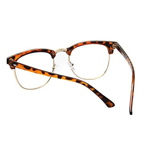 Shiratori New Classic Half Semi-Rimless Clear Lens Glasses Leopard