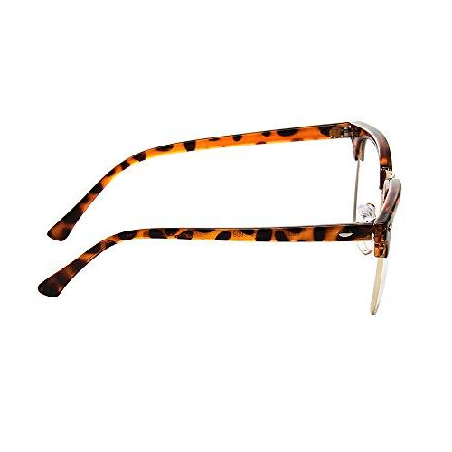 Shiratori New Vintage Half Frame Semi-Rimless Clear Glasses Leopard