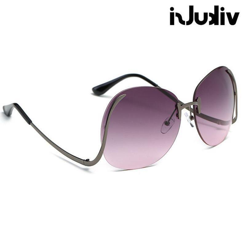 Oversized Eyewear Women Sunglasses Curved Mirror Metal Rimless