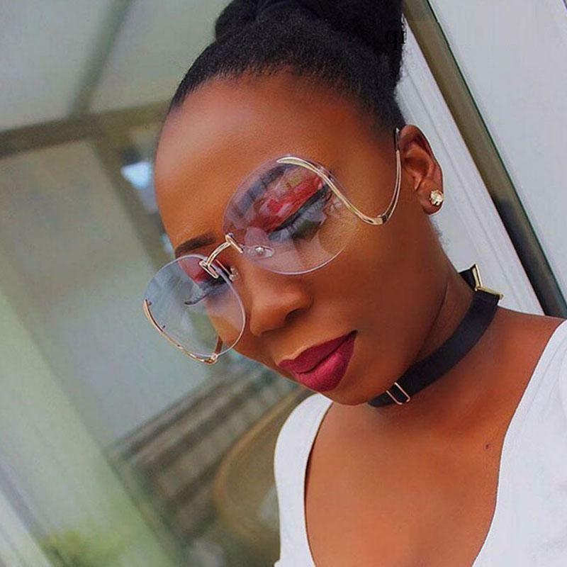 Oversized Eyeglasses Eyewear Women Sunglasses Curved Mirror