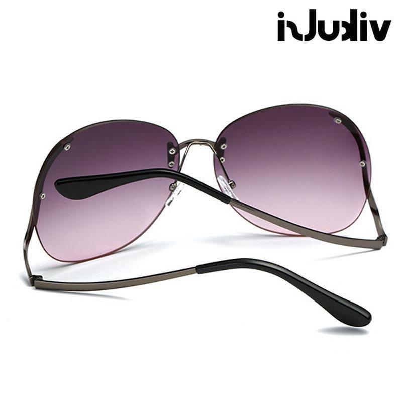 Oversized Eyeglasses Eyewear Women Sunglasses Curved Rimless