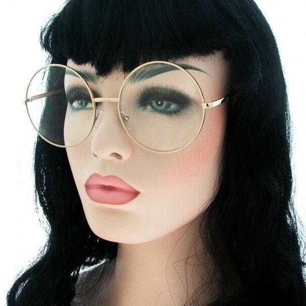 OVERSIZED Round Women Eyeglasses GOLD