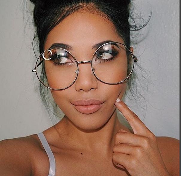 oversized round retro lennon women eyeglasses clear