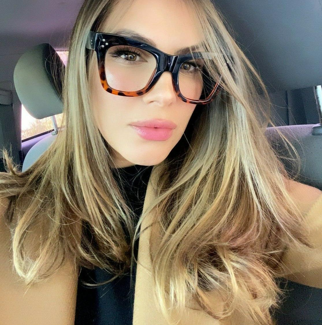 Big XL SQUARE Vintage Retro NERD GEEK Women Eyeglasses CATHE