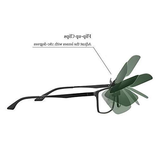 Polarized Flip Up Sunglasses,Unisex Metal Lens Over Eyeglass For Driving Fishing Outdoor Sport Sunglasses Men