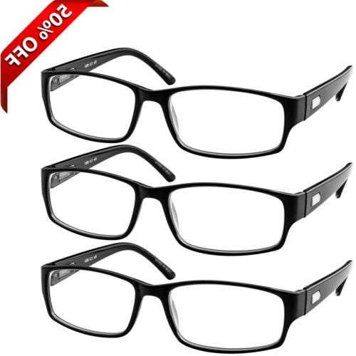 Reading Glasses 2.75| 3 Pack Black Readers for Men and Women