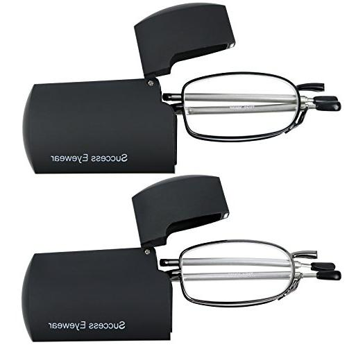 Reading Glasses Pair Black Compact Glasses Reading Women Case Included +2.25