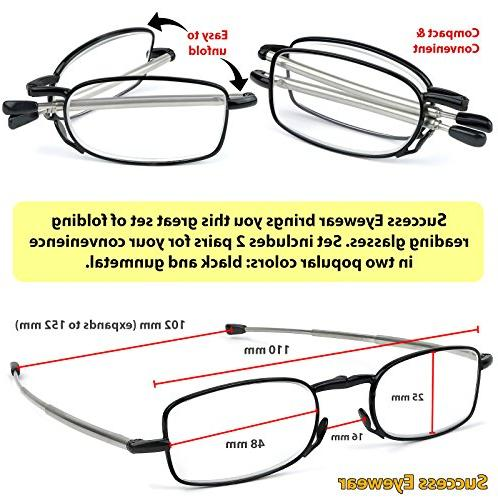 Reading Glasses Black Compact Reading for Women Case