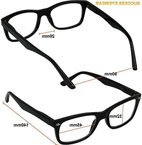 Reading Glasses of 4 Black Quality Spring Hinge Reading and Women +2.25