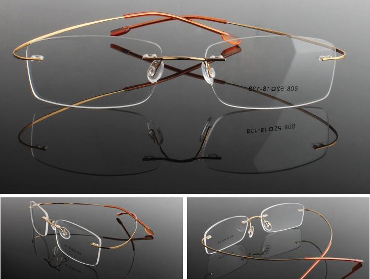 rimless flexible titanium alloy unisex prescription eyeglass
