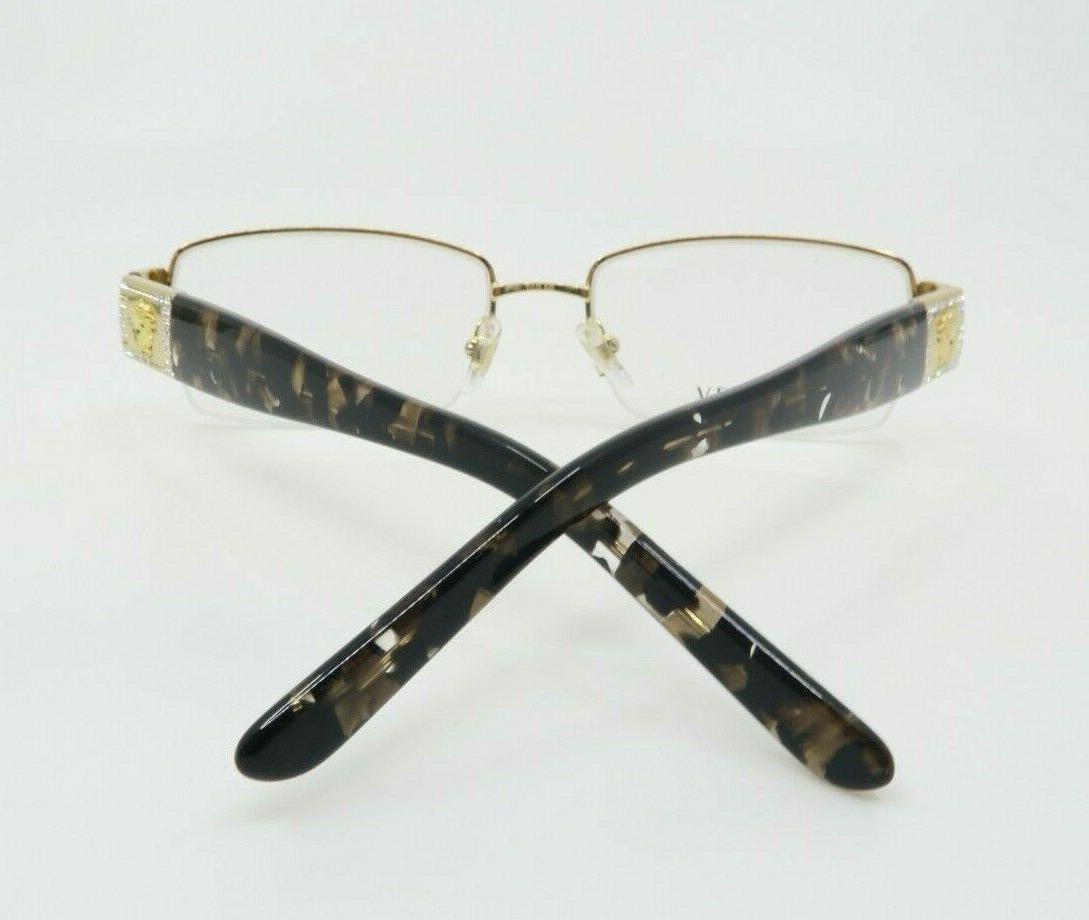 Versace Gold Havana Semi-Rimless Glasses 1175B Box