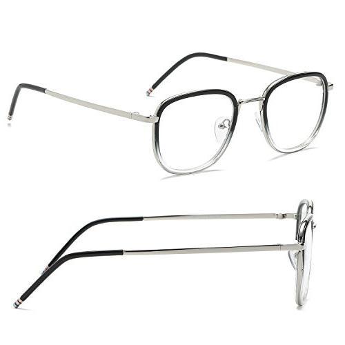 SojoS Square Clear Lens Eyewear Prescription for Men SJ5017 Gradient