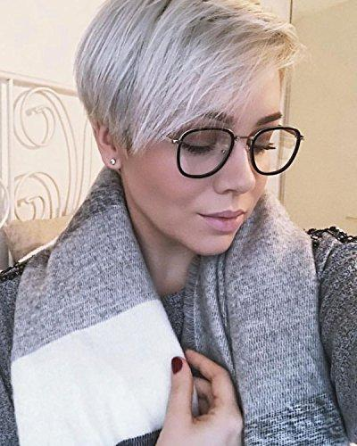 SojoS Square Eyewear for and Women Frame/Silver Temple