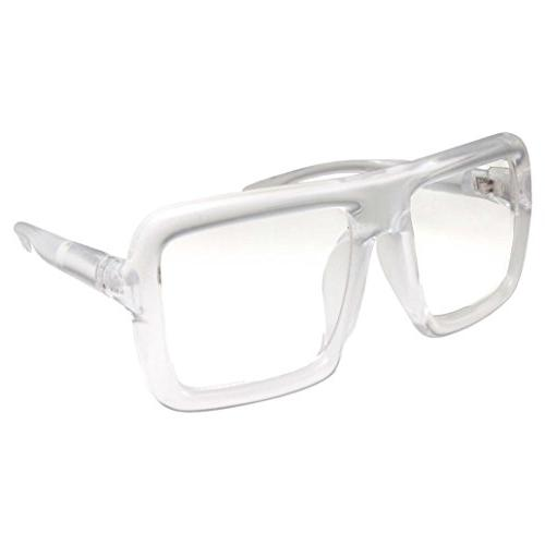 Thick Square Frame Lens Eyeglasses Oversized Costume - Clear