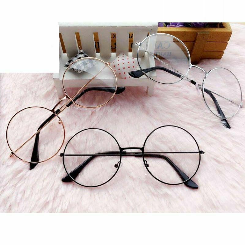 Large Oversized Metal Frame Clear Lens Round Circle Eyeglass