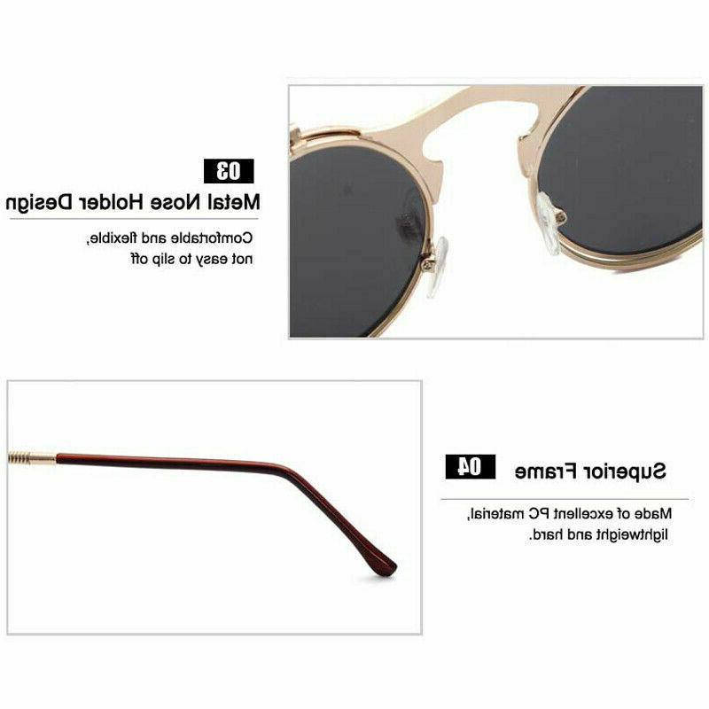 Vintage Retro Lens Steampunk Sunglasses Round Eye Glasses