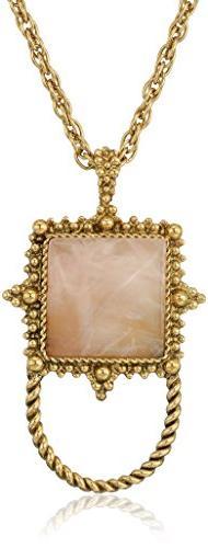 1928 Jewelry Womens Gold-Tone Semi-Precious Rose Quartz Squa