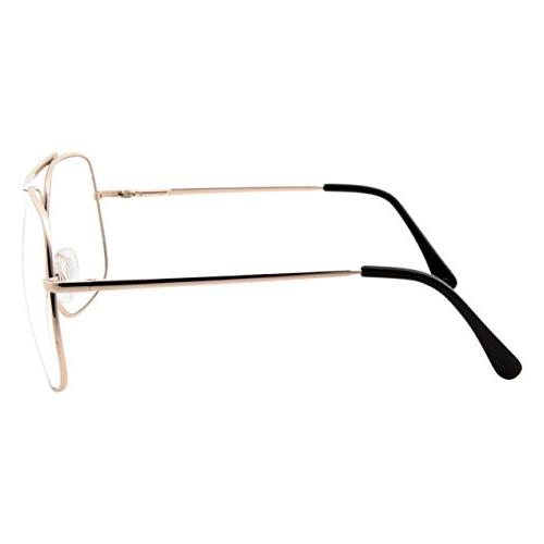 XL Mens Aviator Clear Lens Glasses Fashion Oversized