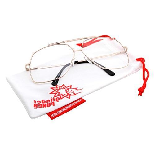 XL Aviator Clear Lens Eye Glasses Fashion Oversized 62mm,